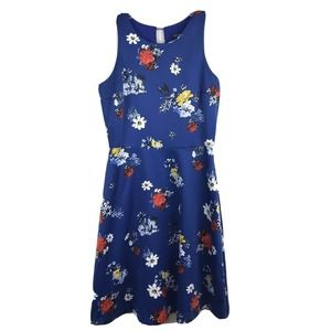 Banana Republic Dress Fit Flare Blue Floral